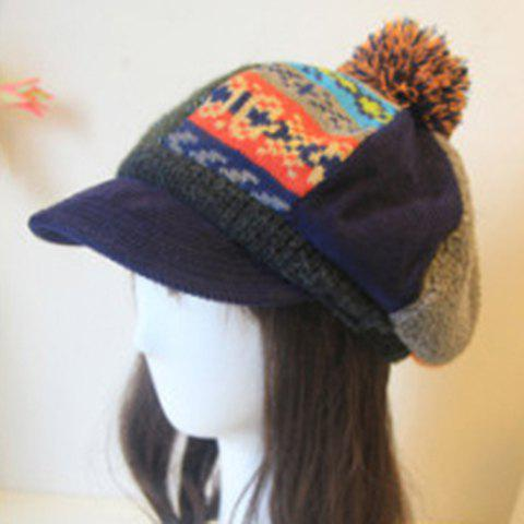Ethnic Style Fluffy Ball Embellished Knitting Yarn Newsboy Cap For Women - ORANGE
