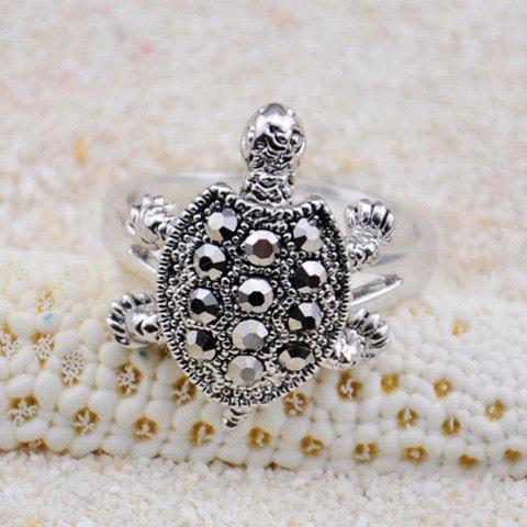Turtle Embellished Diamante Alloy Ring - COLOR ASSORTED ONE SIZE