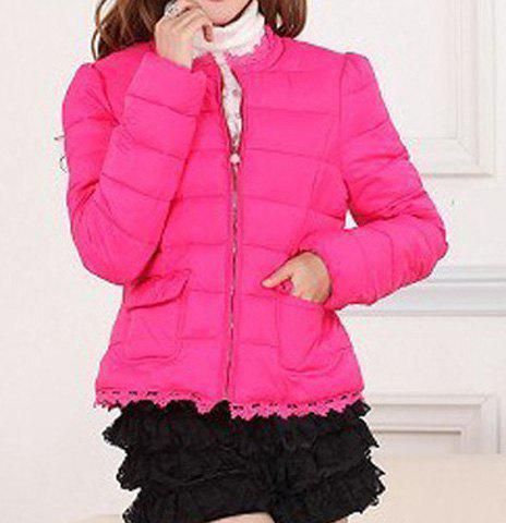 Women's Cute Solid Color Lace Edge Double Pockets Long Sleeves Coat - ROSE S