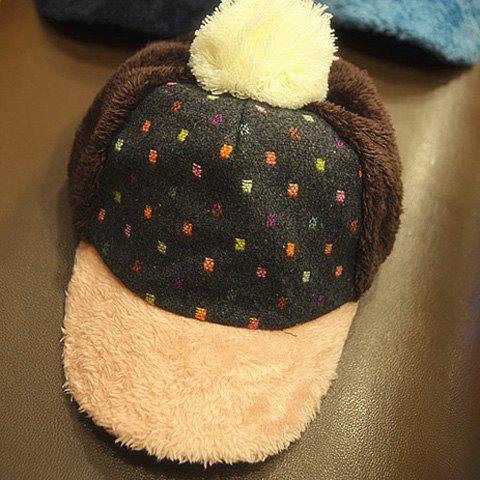 Cute Fluffy Ball Embellished Patchwork Colored Baseball Cap For Women - COFFEE