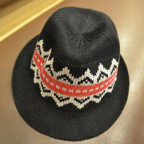 Ethnic Style Printed Colored Fedora Hat For Men and Women - BLACK