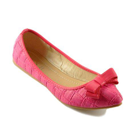 Stylish Bows and Checked Design Flat Shoes For Women - ROSE 40
