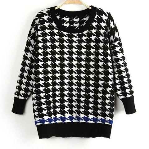 Casual Round Collar Houndstooth Pattern Color Splicing Long Sleeves Women's Sweater - AS THE PICTURE S