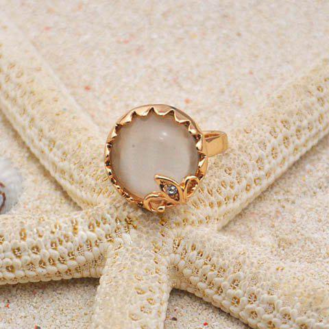 Characteristic Rhinestoned Round Opal Ring - AS THE PICTURE ONE SIZE