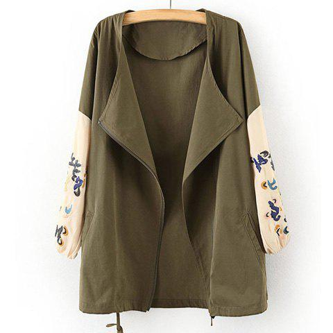 Ethnic Style Dragon Embroidery Zipper Color Splicing Long Sleeves Loose-Fitting Women's Coat - ARMY GREEN S