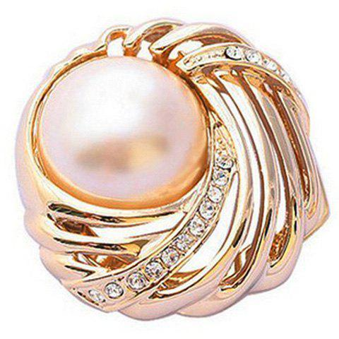 Chic Style Rhinestoned Pearl Design Twisty Alloy Brooch For Women