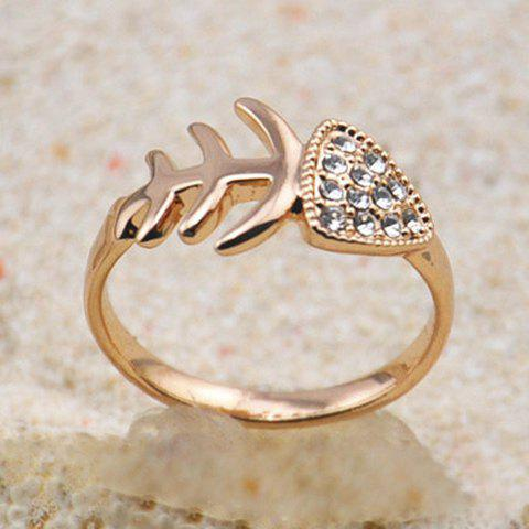 Chic Fish Bone Embellished Diamante Alloy Ring For Women