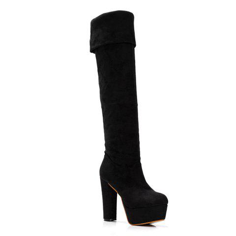 Fashion Chunky Heel and Solid Color Design Women's Thigh Boots - BLACK 36
