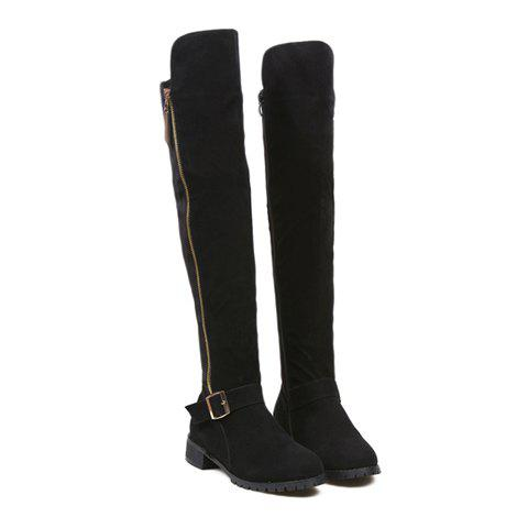 Fashion Suede Buckle and Zipper Design Thigh Boots For Women - BLACK 38