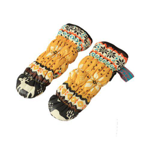Pair of Stylish Printed Colored Winter Gloves For Women - COLOR ASSORTED