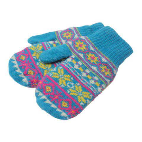 Pair of Warming Chic Printed Colored Winter Gloves For Women - BLUE