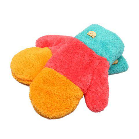 Pair of Sweet Fluffy Colored Patchwork Winter Gloves For Women - BLUE