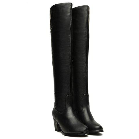 Pretty Black Chunky Heel and Round Toe Design Thigh Boots For Women