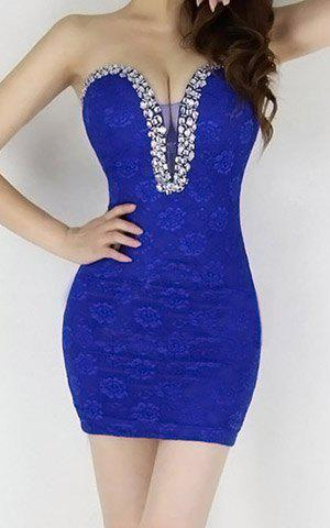 Floral Print Low Cut Sleeveless Polyester Sexy Style Rhinestone Women's Dress - SAPPHIRE BLUE ONE SIZE