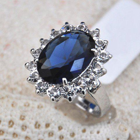 Alloy Faux Sapphire Embellished Diamante Ring - AS THE PICTURE ONE SIZE