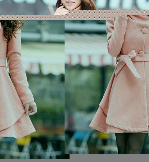 Belted Turn-Down Collar A Line Wool Blend Coat - PINK M