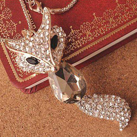 Sweet Retro Rhinestone Crystal Fox Women's Sweater Chain Necklace - COLOR ASSORTED