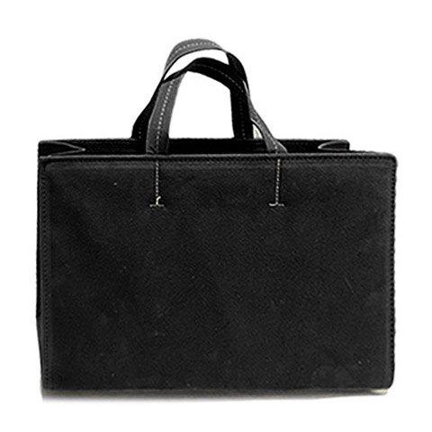 Office Suede and Stitching Design Tote Bag For Women - BLACK
