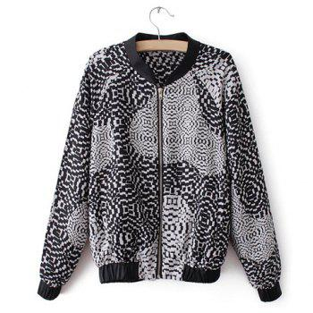 Fashionable Stand Collar Ink Abstract Print Zipper Color Splicing Long Sleeves Women's Jacket