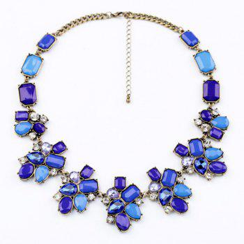 Brilliant Blue Faux Crystal and Faux Gemstone Embellished Necklace For Women
