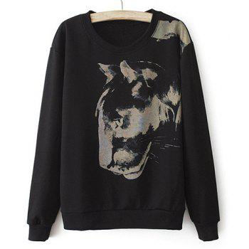 Casual Scoop Collar Leopard Head Pattern Loose-Fitting Long Sleeves Blended Women's Sweatshirt