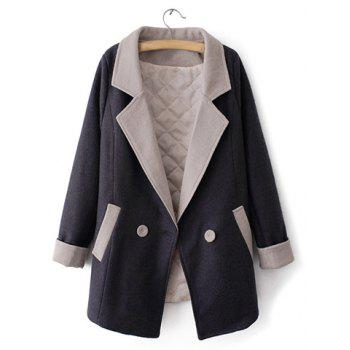 Fashionable Lapel Neck Color Matching Long Sleeve Double-Breasted Coat For Women