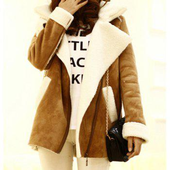 Casual Style Long Sleeves Tailored Collar Color Block Women's Coat