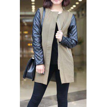 Women's PU Leather Splicing Two-Tone Zippers Long Sleeves Coat