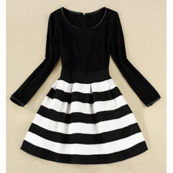 Elegant Scoop Neck Long Sleeve Color Matching Striped Dress For Women