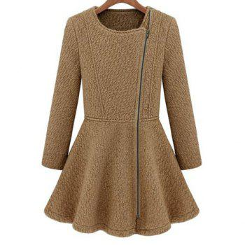 Simple Design Round Neck Solid Color Long Sleeve Flared Coat For Women