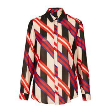 Women's Fashional Stripe Single-Breasted Color Matching Long Sleeves Blouse - AS THE PICTURE L