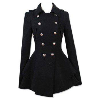 Fashionable Turn-Down Collar Double-Breasted Epaulet Embellished Pleated Top Long Sleeves Slimming Women's Coat