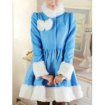 Elegant Stand Collar Fake Fur Splicing Long Sleeve Bow Embellished Coat For Women