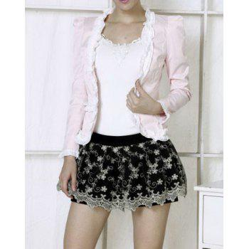 All-Match Flower Embellished Puff Sleeves Slimming Women's Coat - PINK S