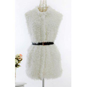 Sweet Women's Collarless Solid Color Lambswool Belt Design Sleeveless Coat - WHITE S
