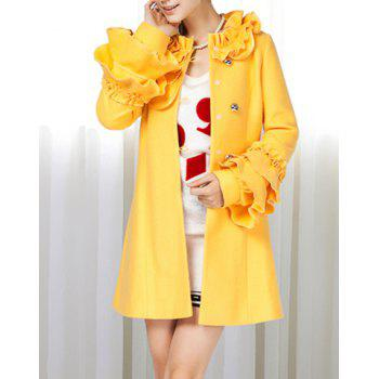Stand Collar Flower Flouncing Embellished Waisted Long Sleeves Single-Breasted Blended Women's Coat - YELLOW L