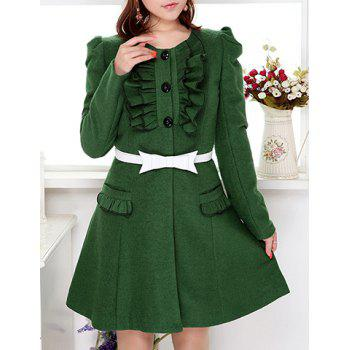 Fashionable Scoop Neck Long Sleeve Ruffles Embellished Green Coat For Women - GREEN S