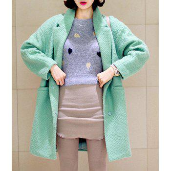 Casual Turn-Down Collar Solid Color Pockets Long Sleeves Loose-Fitting Blended Cloak Coat - GREEN L