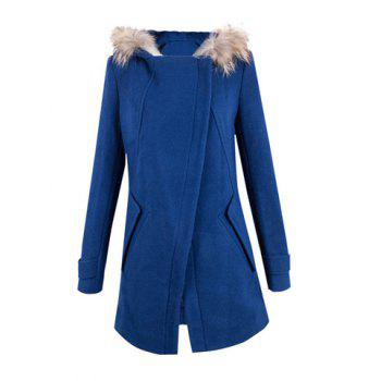 Elegant Turn-Down Collar Long Sleeve Solid Color Hooded Coat For Women