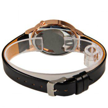 M388 Fashion Style Quartz Watch 12 Mini Dots Indicate with Music Notes Patterned and Leather Band - Black - BLACK