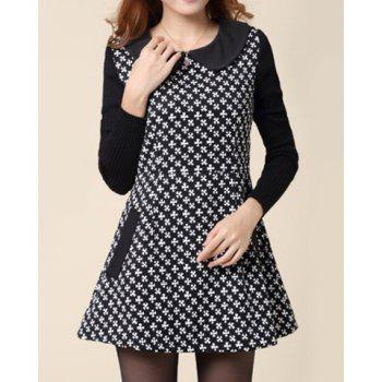 Peter Pan Collar Tiny Flower Pattern Waisted Long Sleeves Design Women's Dress