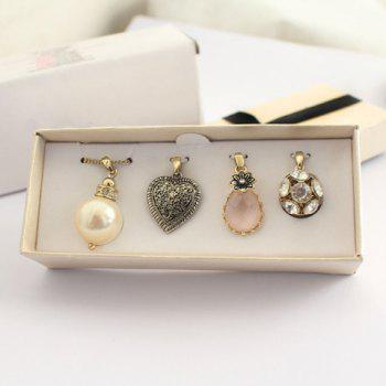 4PCS of Chic Faux Gemstone / Faux Pearl Embellished Pendants For Women