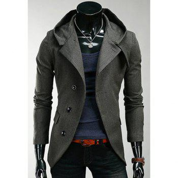 Korean Hooded Single-Breasted Long Sleeves Polyester Coat For Men - DEEP GRAY DEEP GRAY