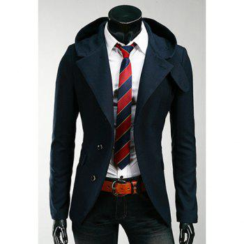 Korean Hooded Single-Breasted Long Sleeves Polyester Coat For Men - DEEP BLUE M