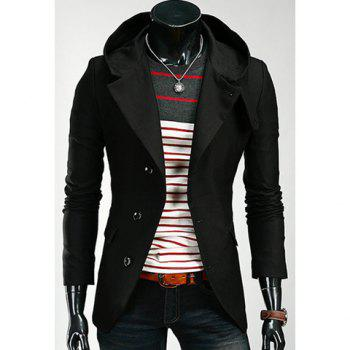 Korean Hooded Single-Breasted Long Sleeves Polyester Coat For Men - BLACK M