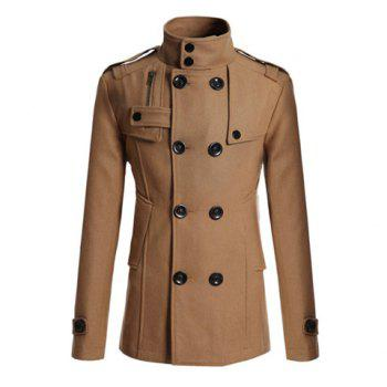 Korean Turndown Collar Double-Breasted Long Sleeves Polyester Trench Coat For Men - CAMEL CAMEL