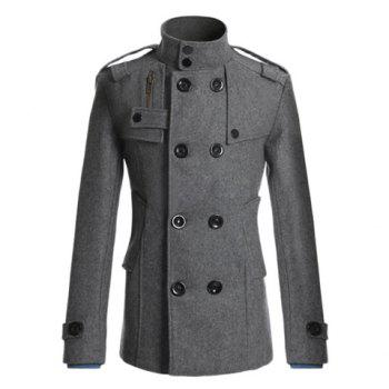 Korean Turndown Collar Double-Breasted Long Sleeves Polyester Trench Coat For Men - GRAY GRAY