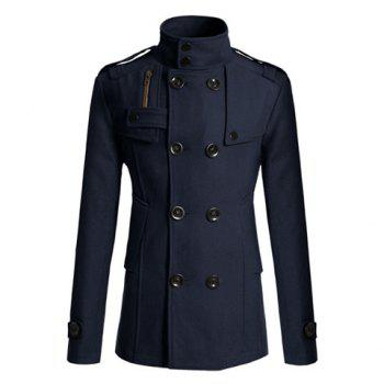 Korean Turndown Collar Double-Breasted Long Sleeves Polyester Trench Coat For Men - NAVY L