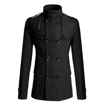 Korean Turndown Collar Double-Breasted Long Sleeves Polyester Trench Coat For Men - BLACK BLACK