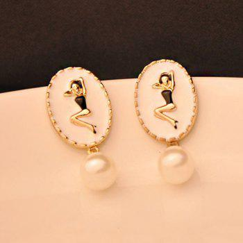 Pair of Chic Beauty Pattern Embellished Beaded Earrings For Women